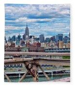 View From Brooklyn Bridge Fleece Blanket