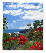View From Keauhou Kona Fleece Blanket