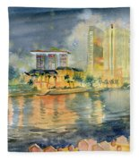 View From Quay Singapore Fleece Blanket