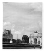 View From The Louvre In Black And White Fleece Blanket