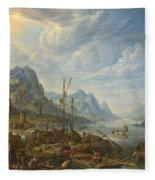 View Of A River With Boat Moorings Fleece Blanket