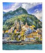View Of Amalfi Fleece Blanket