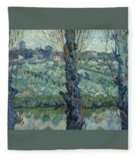 View Of Arles, Flowering Orchards Fleece Blanket
