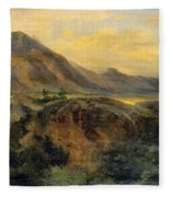 View Of Bagneres De Luchon. Pyrenees Fleece Blanket