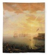 View Of Brest Harbor Fleece Blanket