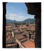 View Of Buildings Through Window Fleece Blanket