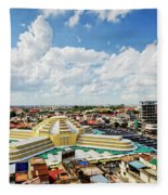 View Of Central Market Landmark In Phnom Penh City Cambodia Fleece Blanket