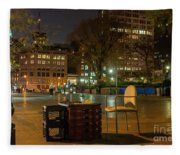 View Of Chess Board In The Middle Of Busy Sidewalk At Night Fleece Blanket