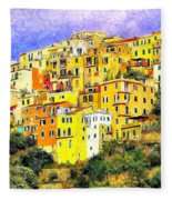 View Of Corniglia - Cinque Terre Fleece Blanket
