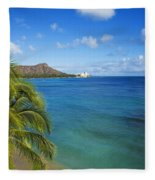 View Of Diamond Head Fleece Blanket