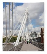 View Of Golden Jubilee Bridge, Thames Fleece Blanket