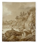 View Of Karlsbad In The Foreground A Young Mother With Her Children Fleece Blanket