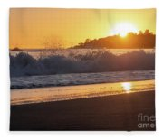 View Of Large Fishing Boat From The Beach At Sunset Fleece Blanket