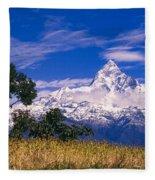 View Of Machhapuchhare From Sarangkot Fleece Blanket