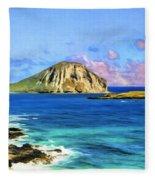 View Of Makapuu And Rabbit Island Fleece Blanket