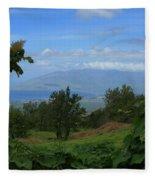 View Of Mauna Kahalewai West Maui From Keokea On The Western Slopes Of Haleakala Maui Hawaii Fleece Blanket