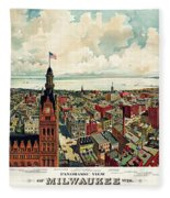 View Of Milwaukee 1898 Fleece Blanket