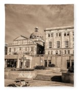 View Of Montgomery County Courthouse From The Southside In Sepia Fleece Blanket