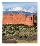 View Of Pikes Peak And Garden Of The Gods Park In Colorado Springs In Th Fleece Blanket