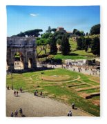 View Of The Arch Of Constantine From The Colosseum Fleece Blanket