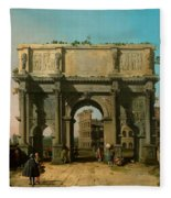 View Of The Arch Of Constantine With The Colosseum Fleece Blanket