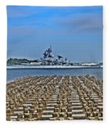 View Of The Battleship New Jersey From Philadelphia Fleece Blanket