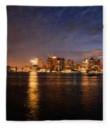 View Of The Boston Waterfront At Night Fleece Blanket