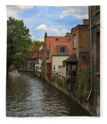 View Of The Canal From Maria Brug On Katelijnestraat In Bruges Fleece Blanket