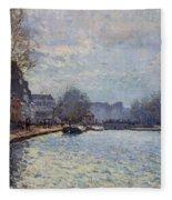 View Of The Canal Saint-martin Paris Fleece Blanket