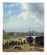 View Of The Dutch Coast Fleece Blanket