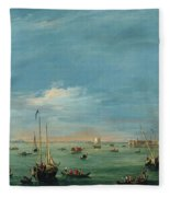 View Of The Giudecca Canal And The Zatter Fleece Blanket
