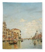 View Of The Grand Canal Of Venice Fleece Blanket