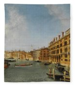 View Of The Grand Canal Venice With The Fondaco Dei Tedeschi Fleece Blanket