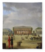View Of The Grand Theatre Constructed In The Place De La Concorde For The Fete De La Paix Fleece Blanket