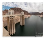 View Of The Hoover Dam Lake With Low Water Reserves Fleece Blanket