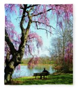 View Of The Lake In Spring Fleece Blanket