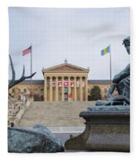 View Of The Museum Of Art In Philadelphia From The Parkway Fleece Blanket