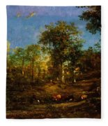 View Of The Pastures Of The Limousin 1835 Fleece Blanket