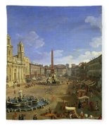 View Of The Piazza Navona Fleece Blanket