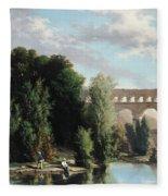View Of The Pont Du Gard Fleece Blanket