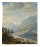 View Of The Rhine River Near Reineck Fleece Blanket