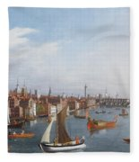 View Of The River Thames With St Paul's And Old London Bridge   Fleece Blanket