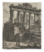 View Of The So-called Temple Of Concord With The Temple Of Saturn, On The Right The Arch Of Septimiu Fleece Blanket