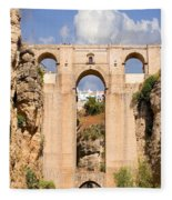 View Of The Tajo De Ronda And The Puente Nuevo Bridge From Across The Valley Fleece Blanket