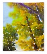 View Of The Willamette From The Trees Fleece Blanket