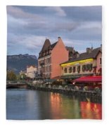 View Of Thiou River In Annecy Fleece Blanket