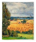 View Of Vadstena From The Surrounding Fields Fleece Blanket