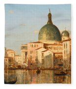 View Of Venice With San Simeone Piccolo Fleece Blanket
