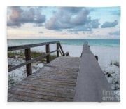 View Of White Sand And Blue Ocean From Wooden Boardwalk Fleece Blanket