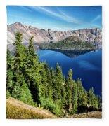 View Of Wizard Island Crater Lake Fleece Blanket